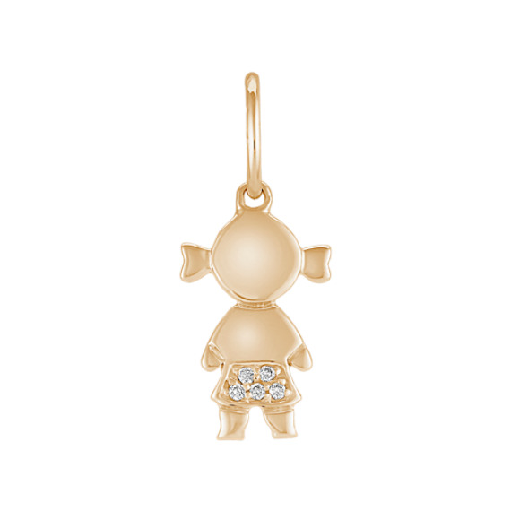 Round Diamond Little Girl Charm