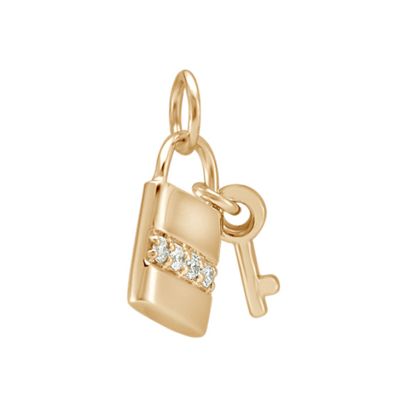 Round Diamond Lock & Key Charm