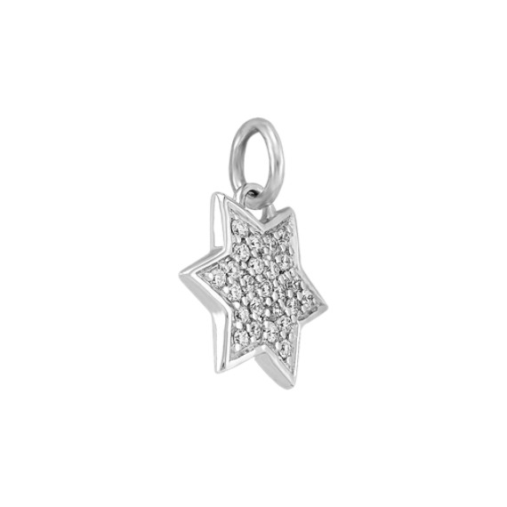 Round Diamond Star Charm