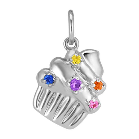 Round Multi-Color Sapphire Cupcake Charm