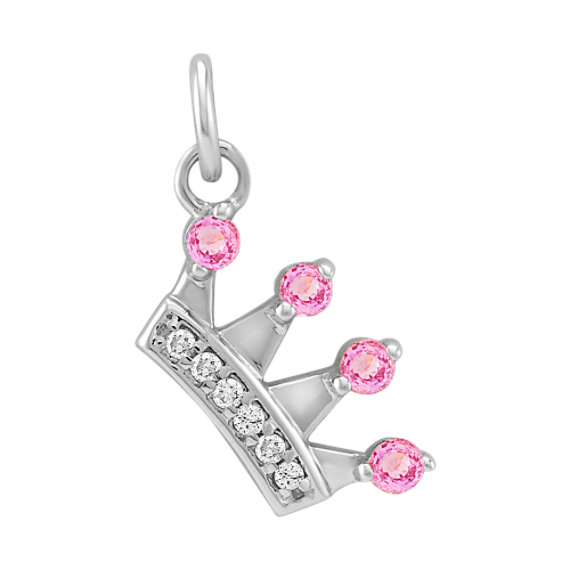 Round Pink Sapphire and Diamond Crown Charm in 14k White Gold