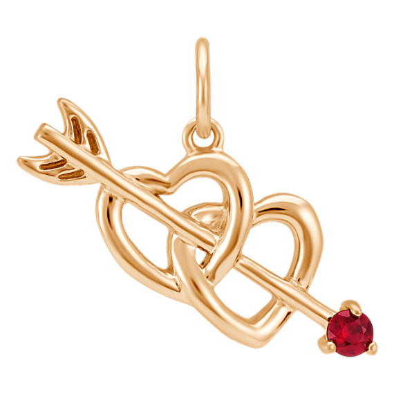 Round Ruby Cupid's Arrow & Hearts Charm