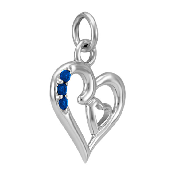 Round Sapphire Double-Heart Charm