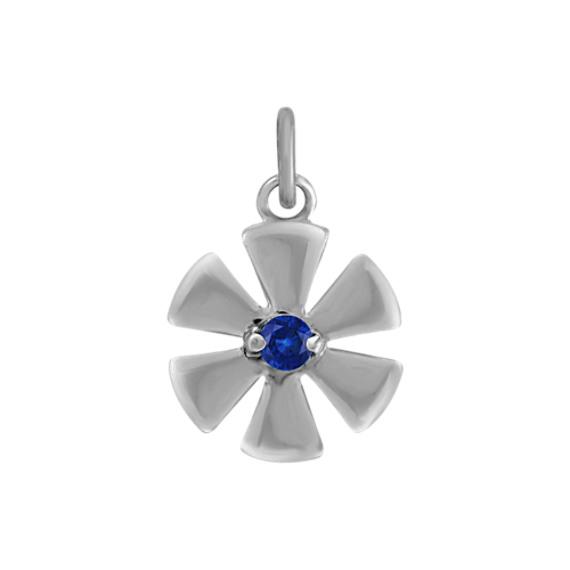 Round Sapphire Flower Charm