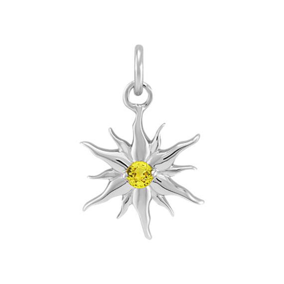 Round Yellow Sapphire Sun Charm