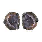 Druzy Agate Cuff Links in Sterling Silver with Black Ruthenium