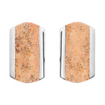 Stainless Steel and Star Jasper Cuff Links