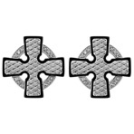 Stainless Steel Celtic Cross Cuff Link with Diamond Accent