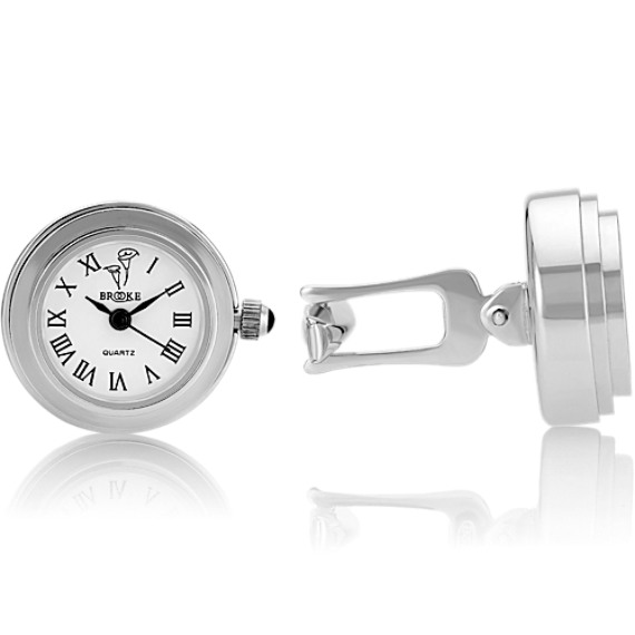 Analog Clock Cuff Links in Sterling Silver