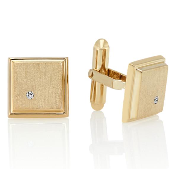 Bezel-Set Round Diamond Cuff Links in Yellow Sterling Silver
