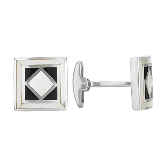 Black Agate and Mother of Pearl Square Cuff Links in Sterling Silver