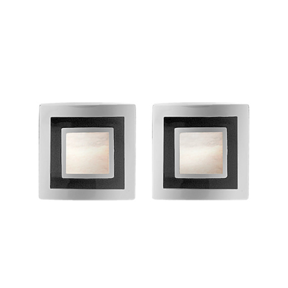 Black Onyx, Mother of Pearl and Sterling Silver Cuff Links