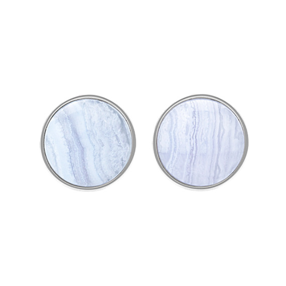 Blue Lace Agate and Sterling Silver Cuff Links