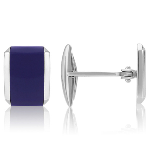 Boxy Sterling Silver Cuff Links With Lapis Inlay
