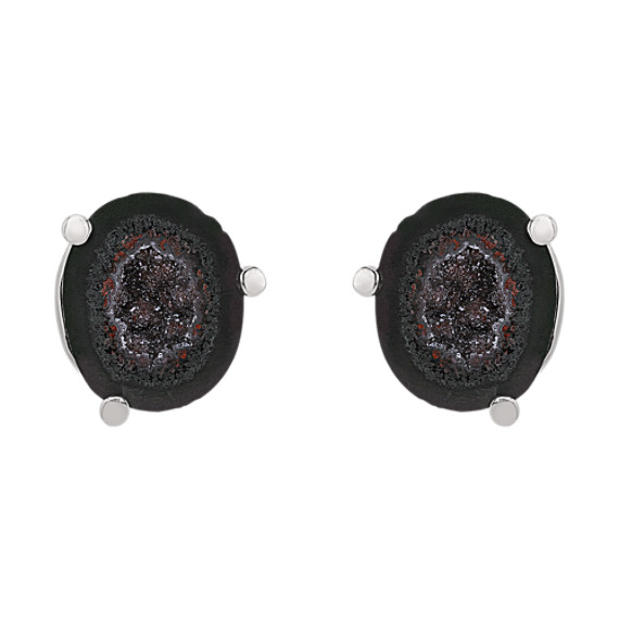 Druzy Agate and Sterling Silver Cuff Links