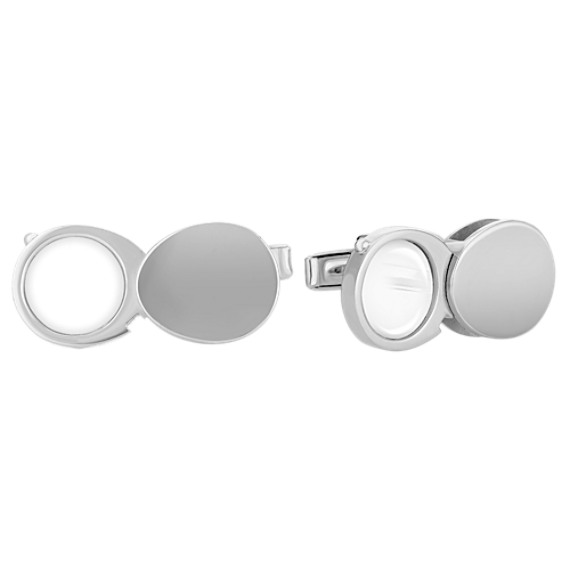 Engravable Sterling Silver Loupe Cuff Links