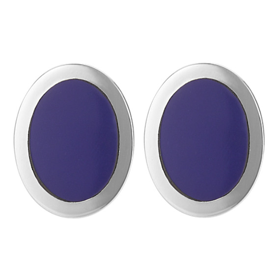 Oval Lapis Cuff Links in Sterling Silver