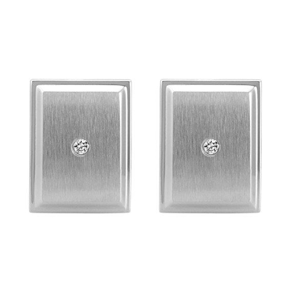 Round Diamond and Stainless Steel Cuff Links