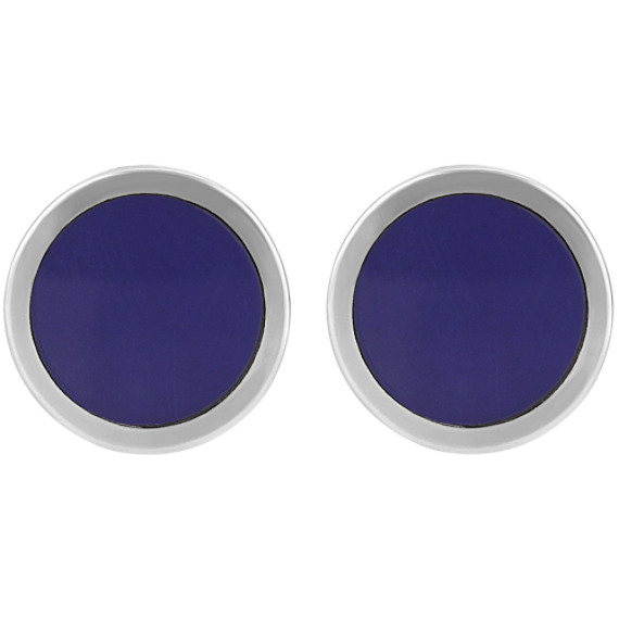 Round Lapis Cuff Links in Sterling Silver