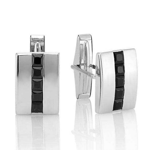 Square Cut Black Sapphire Cuff Links in Sterling Silver