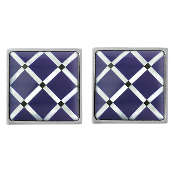 Stainless Steel Sodalite Grid Cuff Links