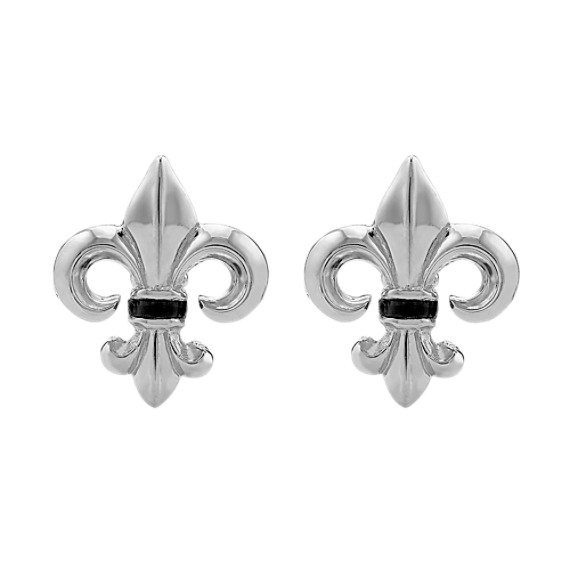 Sterling Silver and Black Onyx Fleur-De-Lis Cuff Links