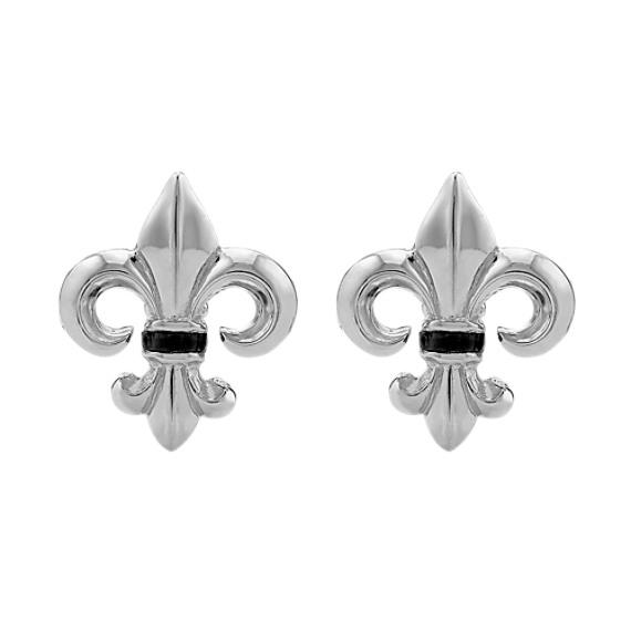 Sterling Silver and Black Onyx Fleur-De-Lis Cuff Links