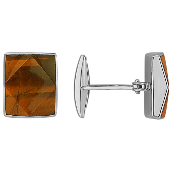 Sterling Silver and Tiger's Eye Cuff Links