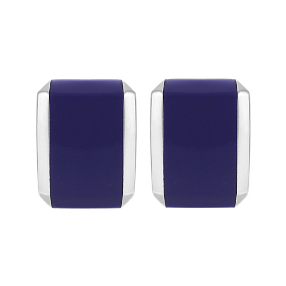 Sterling Silver Cuff Links With Lapis Inlay