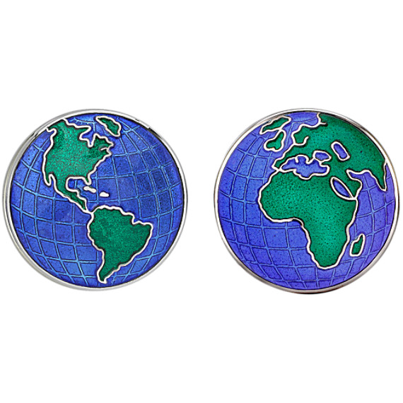 Sterling Silver Globe Cuff Links