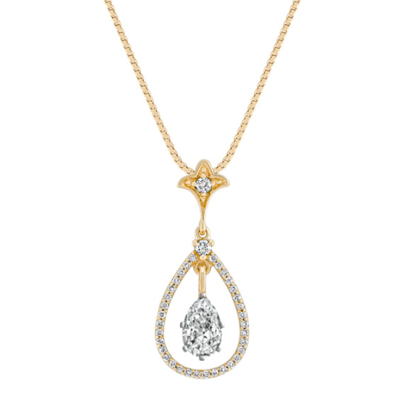 "Diamond Teardrop Pendant (18"")"