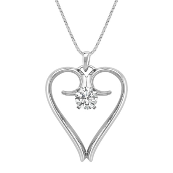 "14k White Gold Heart Pendant (18"")"