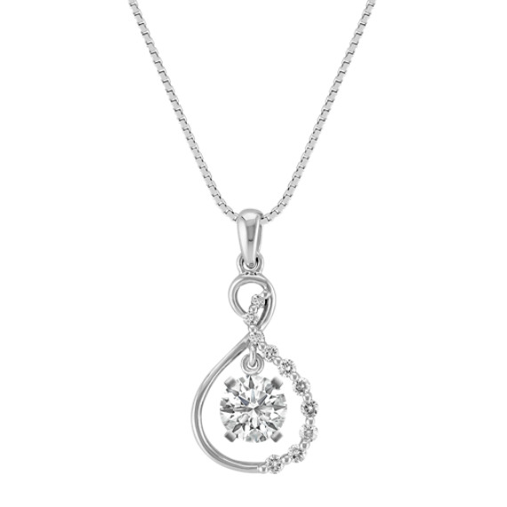 "Figure Eight Diamond Pendant in 14k White Gold (18"")"