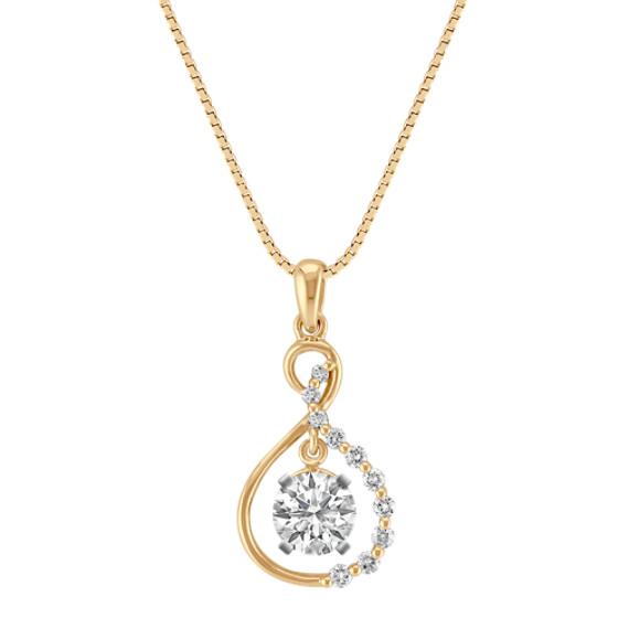 "Figure Eight Diamond Pendant in 14k Yellow Gold (18"")"