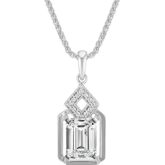 Rectangle And Diamond Shaped Pendant For Emerald Cut