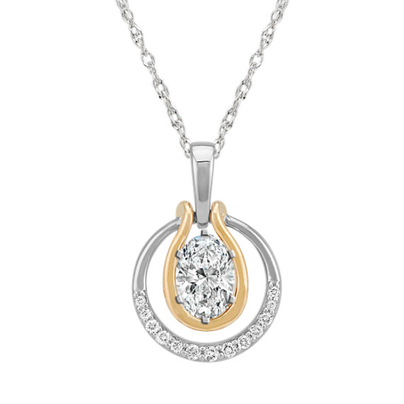 """Circle Diamond Pendant for Oval Gemstone in Two-Tone Gold (22"""")"""