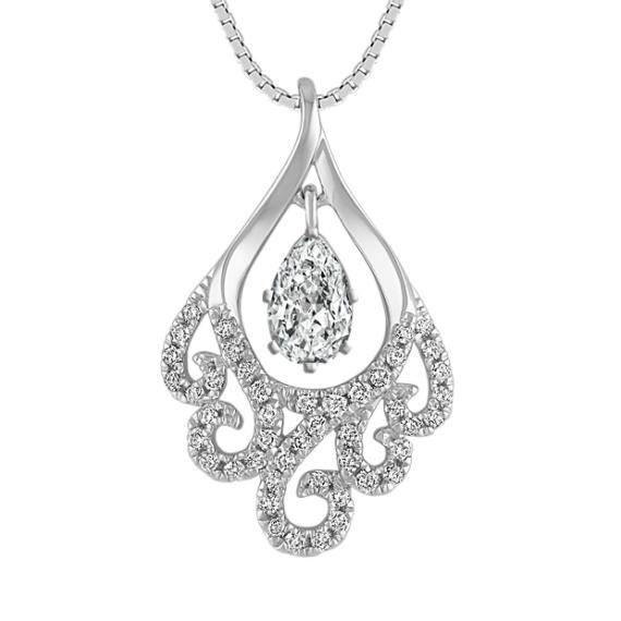 "Round Diamond Swirl Pendant (18"")"