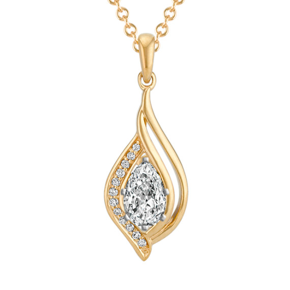 """Pendant for Pear-Shaped Gemstone with Diamond Accent in (22"""")"""