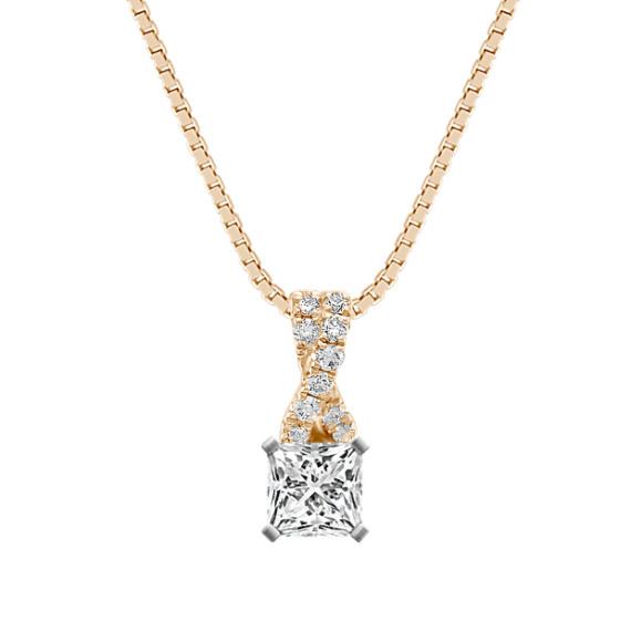 "Criss Cross Round Diamond Pendant (18"")"