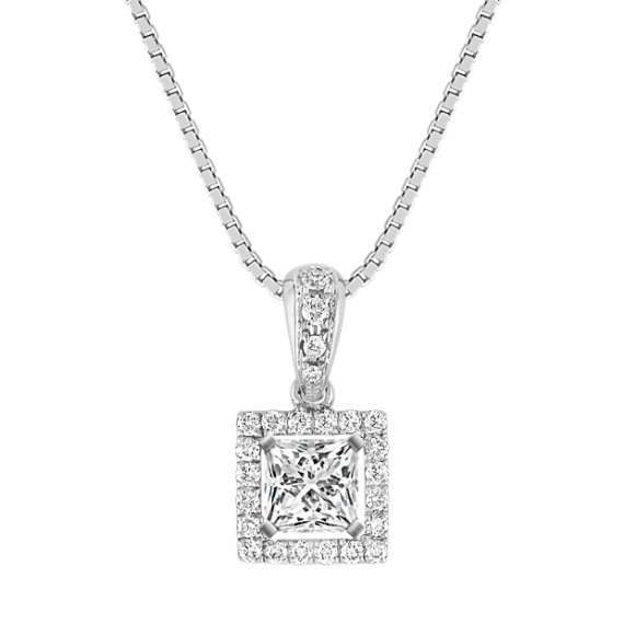 "Round Diamond Square Pendant (18"")"