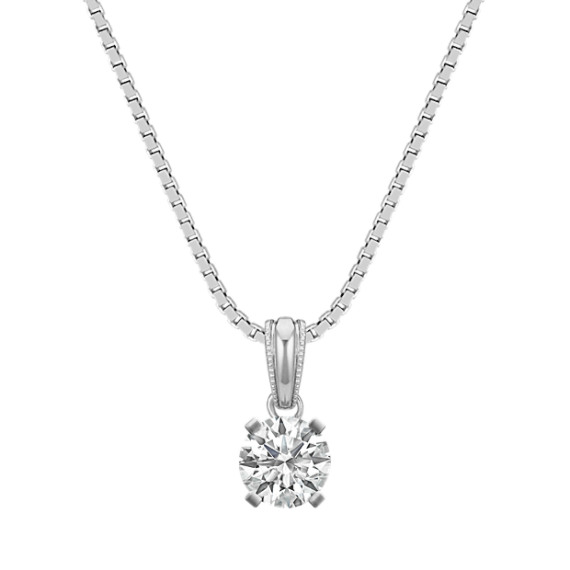 "14k White Gold Pendant with Round Basket to hold .33 ct. (18"")"