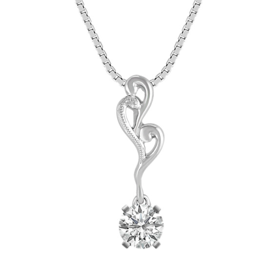 "14k White Gold Pendant (18"")"
