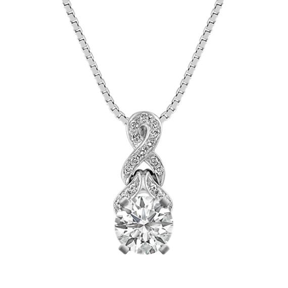 "Round Diamond Twist Pendant in 14k White Gold (18"")"