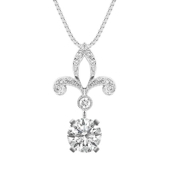"""Fleur De Lis Round Diamond Pendant (18"""")"""
