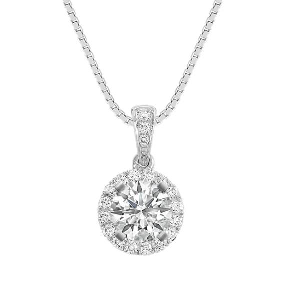 "Round Diamond Halo Pendant (18"")"