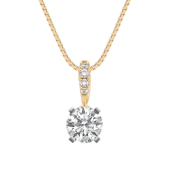 "Round Diamond Pendant in 14k Yellow Gold (18"")"