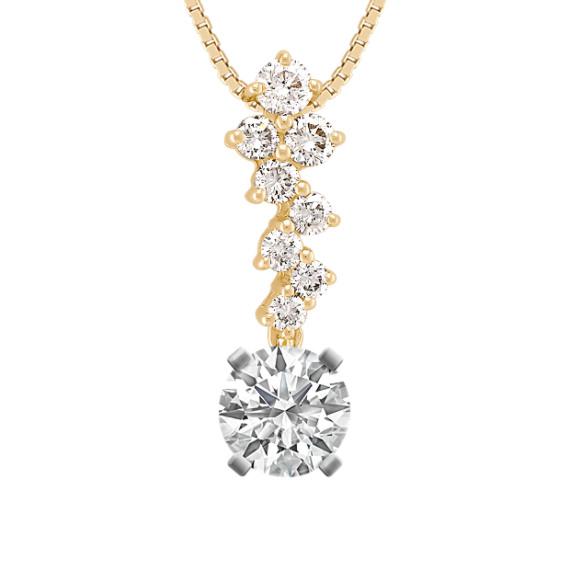 """Zigzag Round Diamond Pendant (18"""")"""