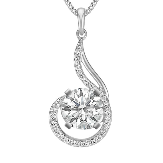"Diamond Swirl Pendant for Round Gemstone (22"")"