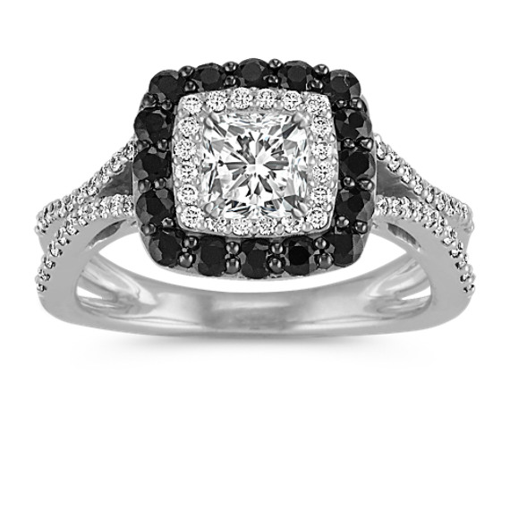 Cushion Double Halo Engagement Ring with Black Sapphires and Diamonds