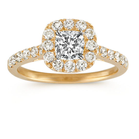 Halo Diamond Engagement Ring with Pavé Setting